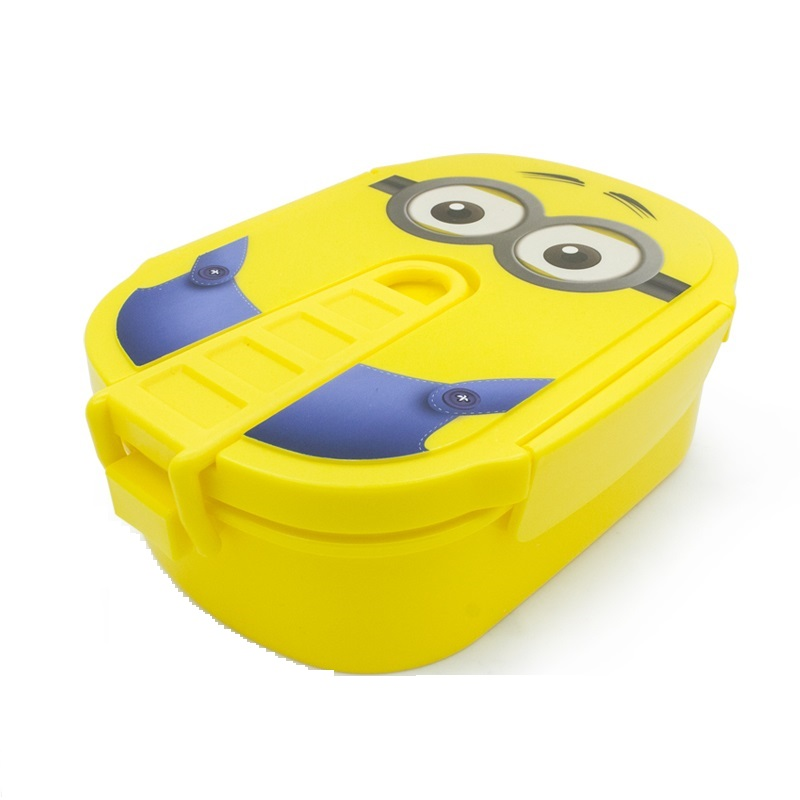 1pc Cute Cartoon Minions микротолқынды пеш Пластикалық портативті түскі ас қорапшасы бар Bento контейнерінің корпусы студенттерге немесе балаларға арналған (00148)