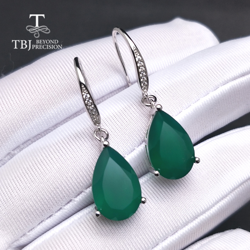 все цены на TBJ,Water Drop African green agate gemstone Dangle hook Earrings Pure 925 Sterling Silver Fine Jewelry For Women lady mom gift онлайн
