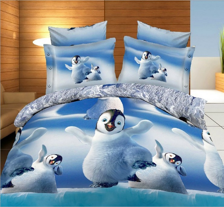 penguin bedding sets 3d cute quilt duvet cover bed in a bag sheet bedspread linen doona bedset animal print queen size full 4pcsin bedding sets from home
