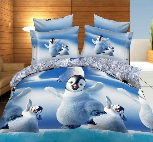 Penguin Bedding Sets 3d Cute Quilt Duvet Cover Bed In A