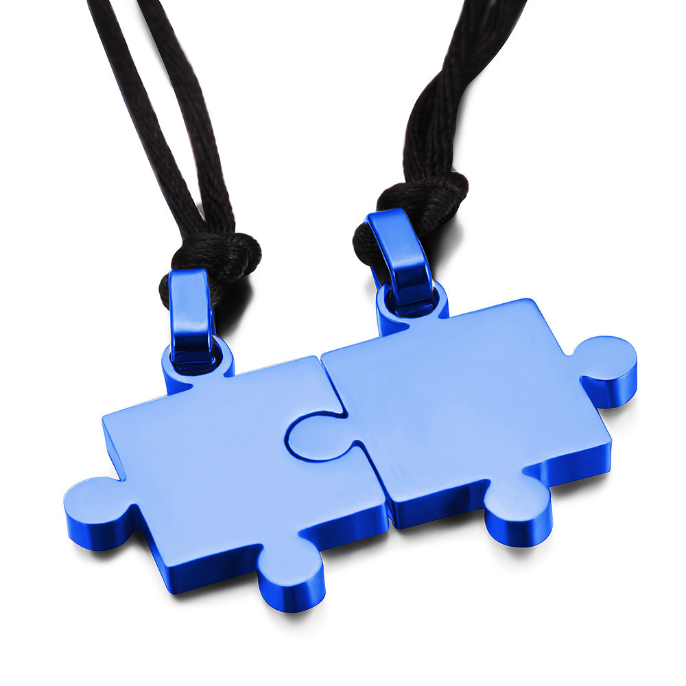 2pcs/Pair Stainless Steel Puzzle Pendant Necklace Rope Chain For Lover Couple Women Men Love Romantic Jewelry Valentine Gift