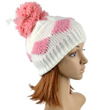 2013 New Women's Diamond Grid Pattern Beanie Crochet Knitted Winter Hat Large Ball Cap Ski Free shipping