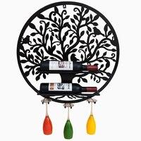 Настенный держатель вина украшения винный шкаф полки, стены, Декор Подвеска Кованого Железа Винный Стекло стойки дома винный контейнер