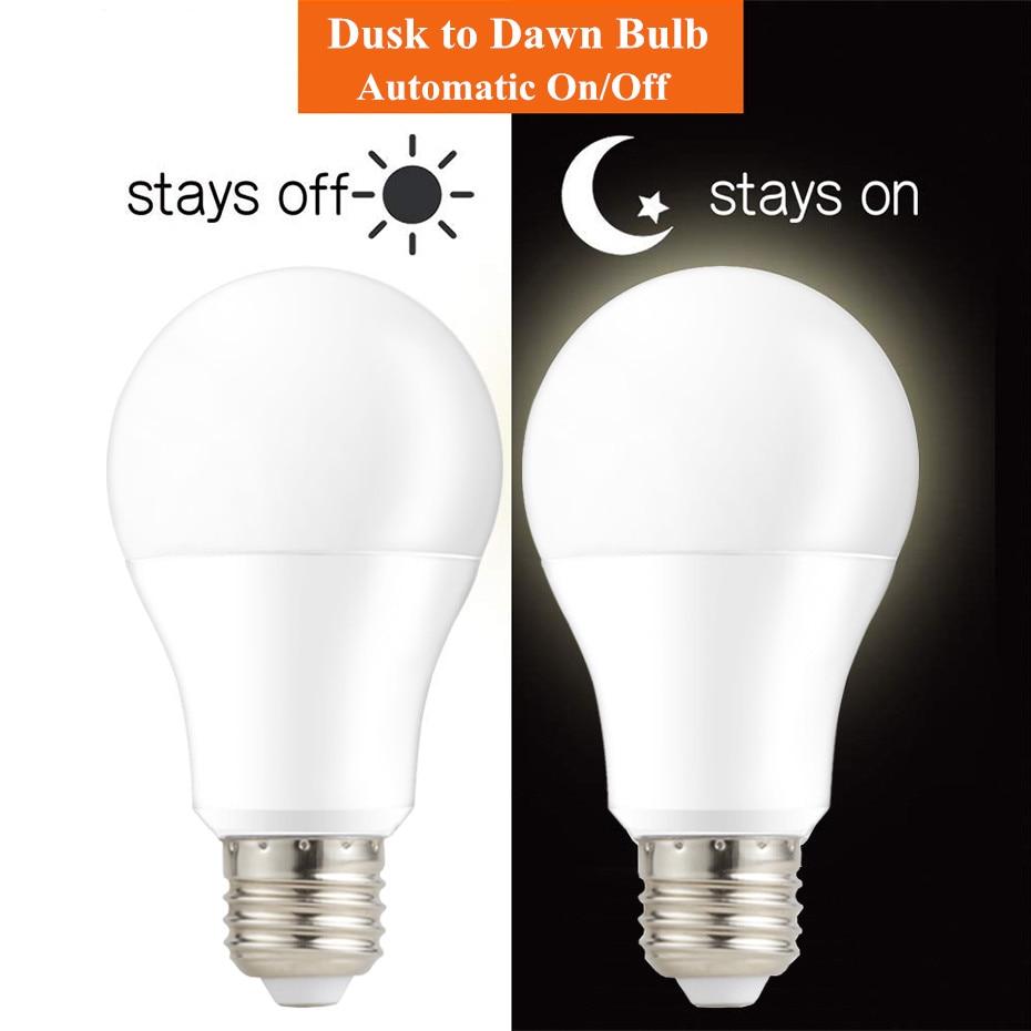 LED Sensor Lamp 220V 110V Dusk to Dawn Light Bulb E27 B22 Light With Sensor Smart Light Bulb 10W 15W Day Night Light Auto On/Off