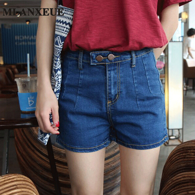 Fashion Vintage Elastic High Waist Elasticity Shorts Feminino Denim Shorts for Women Loose Casual Plus Size Blue Jeans Short