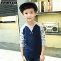 Pioneer Дети Осень Мальчики Свитера Мальчиков утолщаются футболки С Длинным Рукавом Хлопок Clothings Дети детские Свитера Футболки