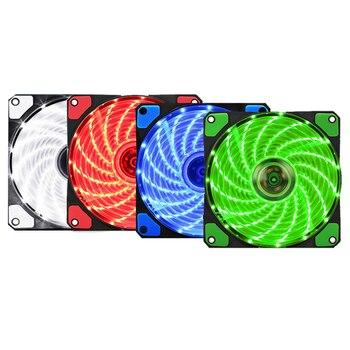 120mm PC Computer 16dB Ultra Silent 15 LEDs Case Fan Heatsink Cooler Cooling pc fan 120mm,12CM Fan,12VDC 3P IDE 4pin