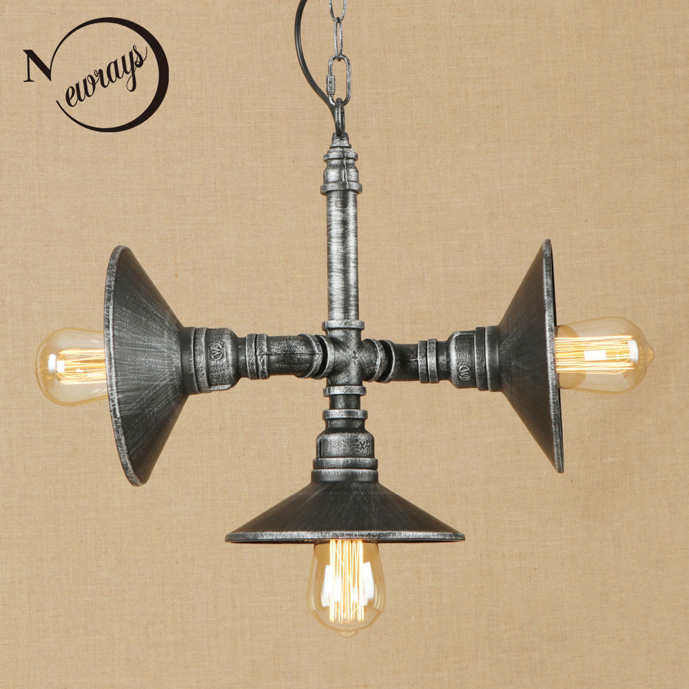 Vintage iron painted silver pendant lamp LED 3 lamp Pendant Light Fixture E27 110V 220V For Kitchen Lights study room bed room horror note