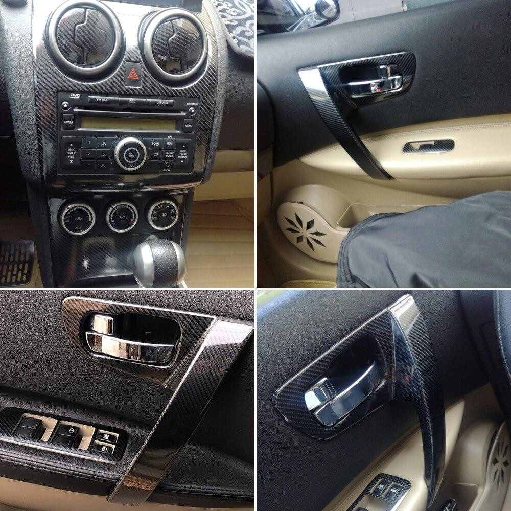 Dla Nissan Qashqai 2006-2015 J10 wnętrze centralny panel sterowania klamka naklejki z włókna węglowego naklejki Car styling Accessorie