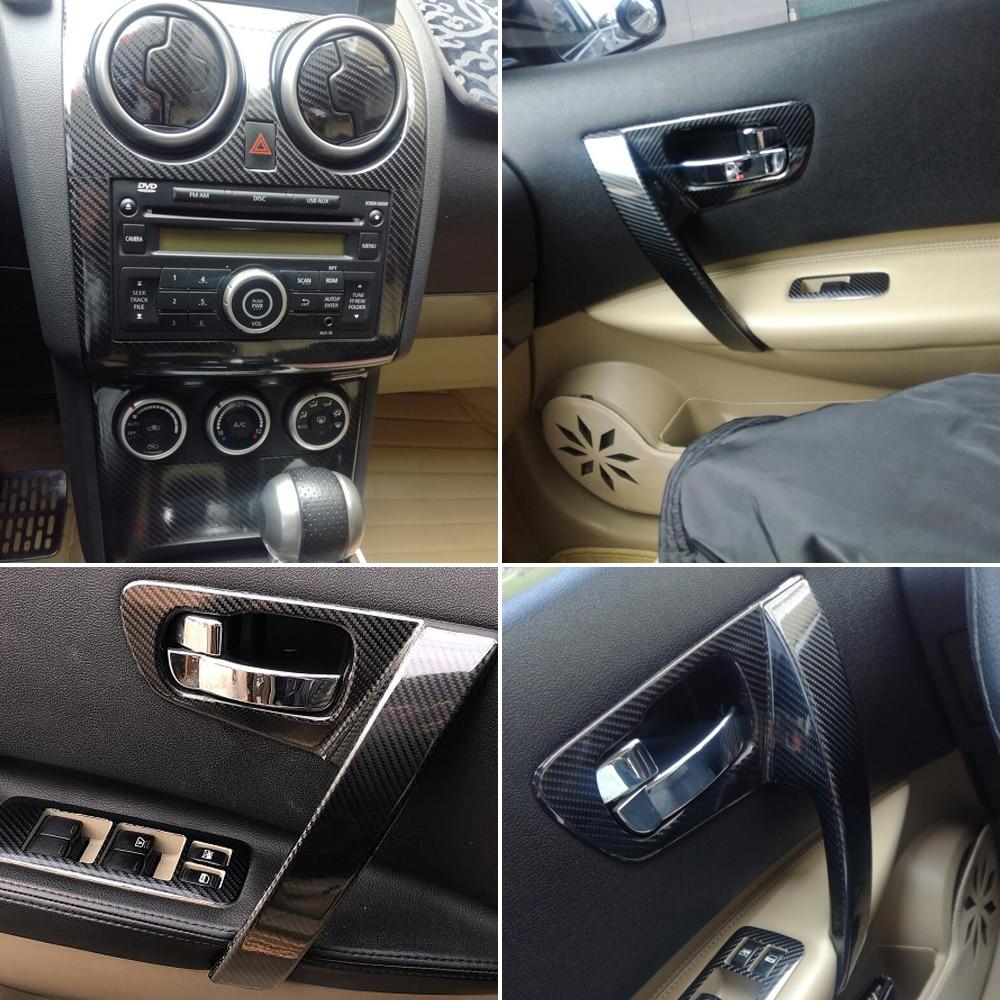 Per Nissan Qashqai 2006-2015 J10 Interno Pannello di Controllo Centrale Maniglia Della Porta Adesivi In Fibra di Carbonio Decalcomanie Car styling Accessorie