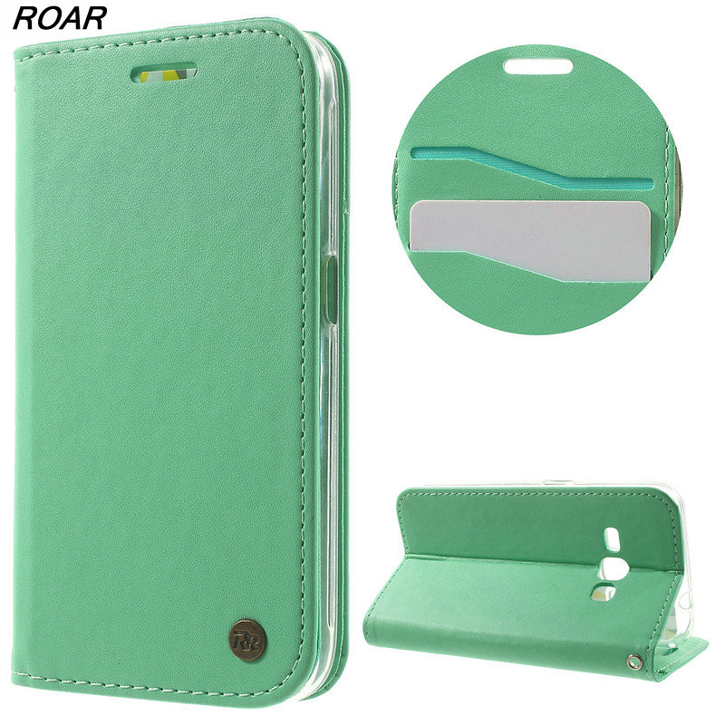 For Samsung Galaxy J1 2016 Case Original ROAR KOREA Only One Flip Leather Wallet Case for Samsung Galaxy J1 2016 J120 J120F