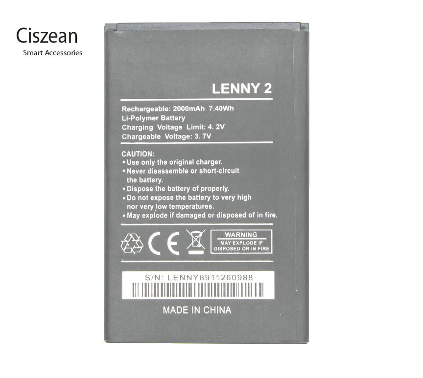 Ciszean Batterie Replacement For Wiko LENNY2 New 1x