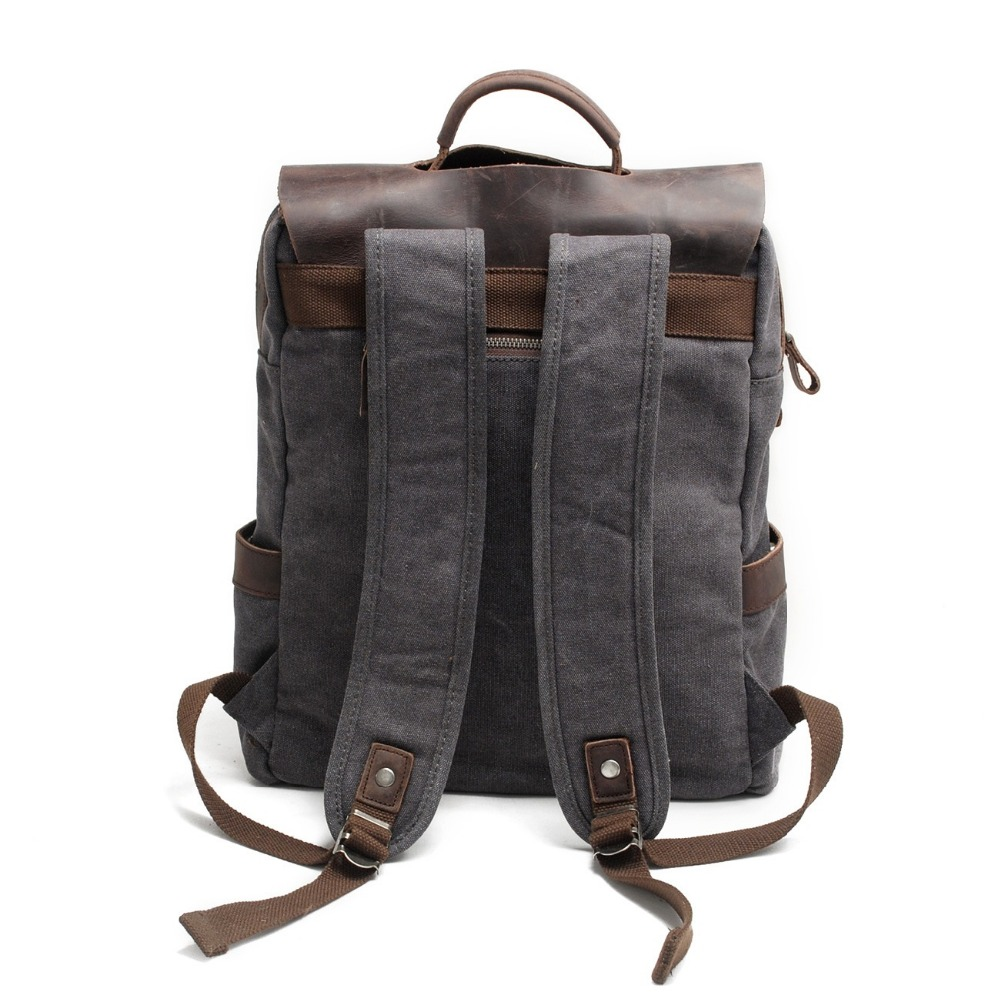Image 3 - M030 Hot New Multifunction Fashion Men Backpack Vintage Canvas Backpack Leather School Bag Neutral Portable Wearproof Travel Bag-in Backpacks from Luggage & Bags