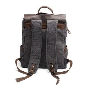 Image 3 - M030 뜨거운 새로운 다기능 패션 남자 배낭 빈티지 캔버스 배낭 가죽 학교 가방 중립 휴대용 Wearproof 여행 가방