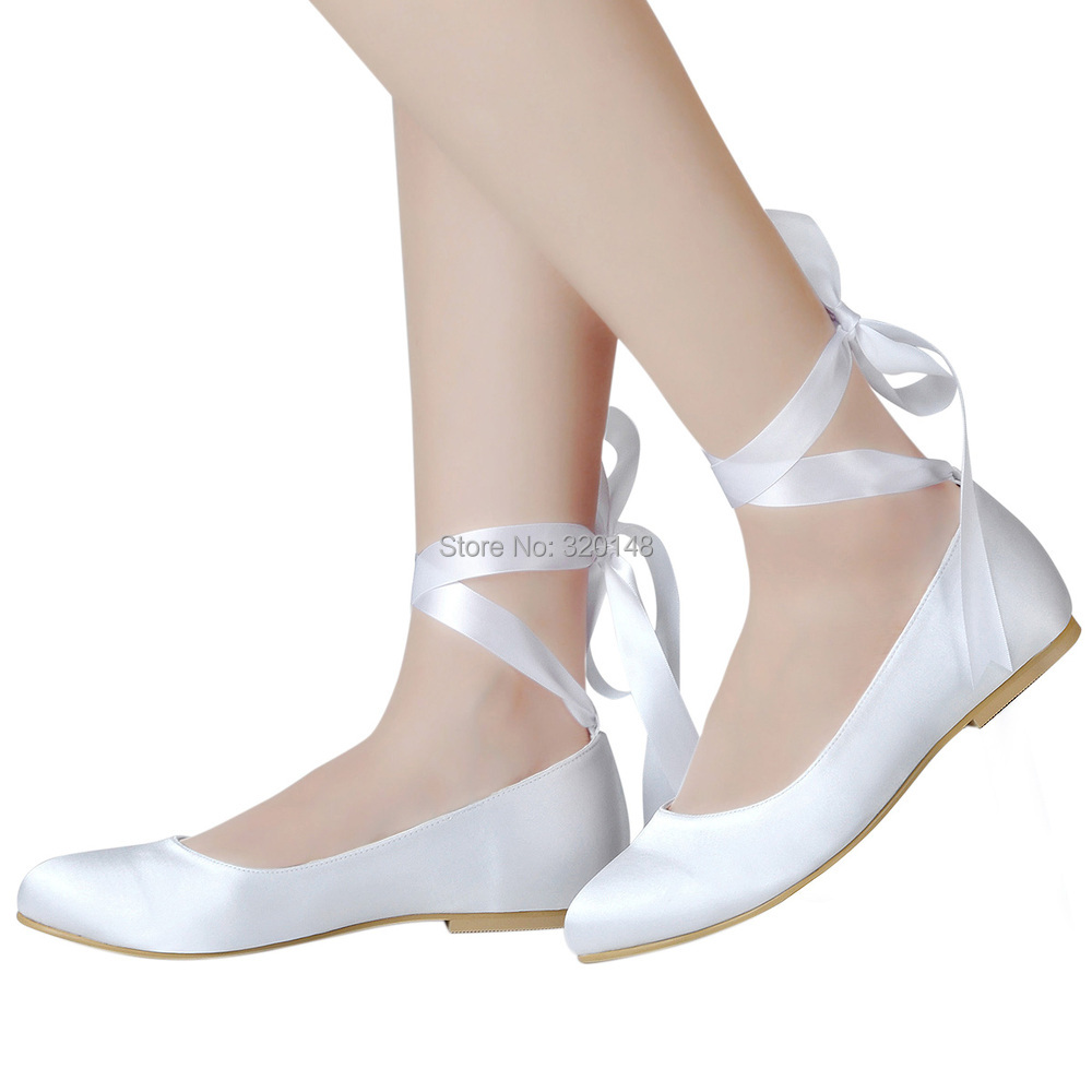 d4ad5cd387e Woman flats White Ivory Round Toe Comfort Ribbon Tie Lady Girls Bride  ballets Satin Dress Wedding Bridal ballerina shoes EP11105-in Women s Flats  from Shoes ...