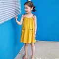 Children Clothes Girl Dress Bohemian Style Draped Yellow Girl Beach Dress Cute Lovely Floral Girls Suspenders dress