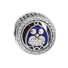 Fits Pandora Bracelets Charming Owl Charms Genuine 925 Sterling Silver Beads for Jewelry Making kralen joyas de plata