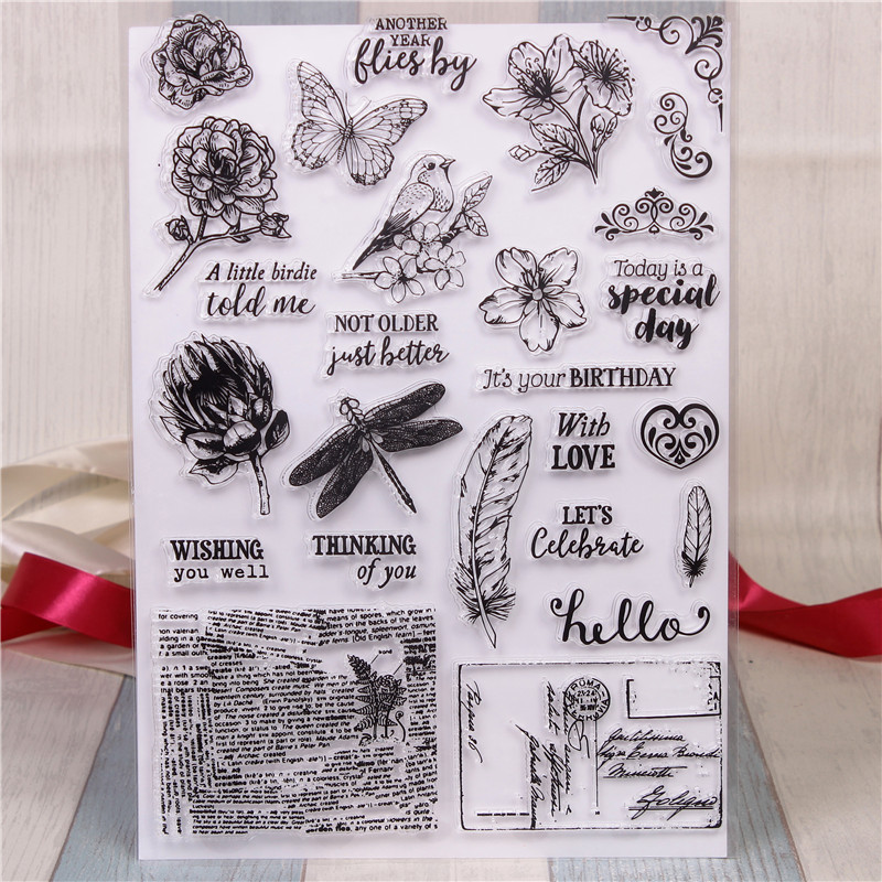 Rubber Silicone Clear Stamps for Scrapbooking Tampons Transparents Seal Background Stamp Card Making Diy Butterflies Stempel цена и фото