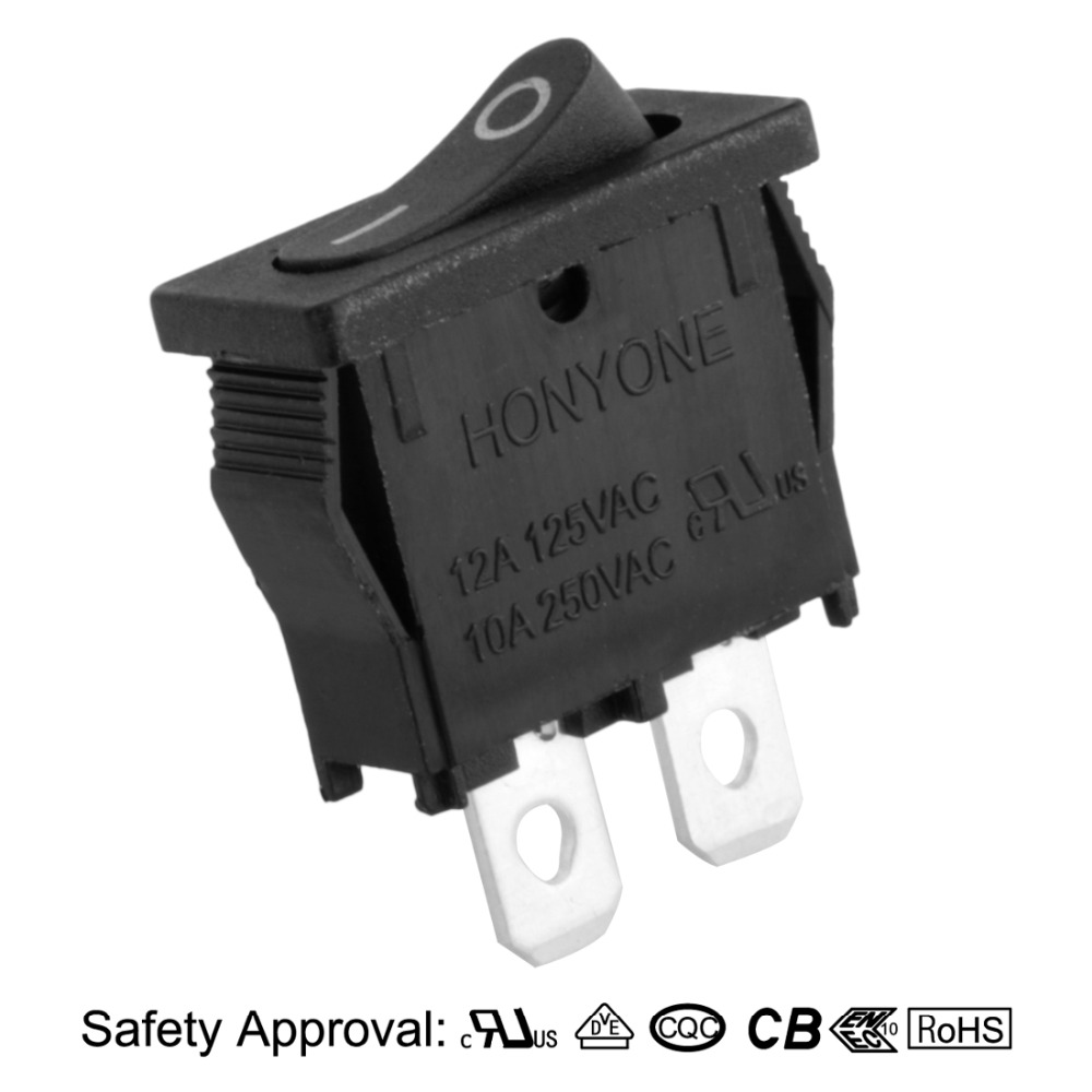 SPST 2P 2 Position Mini Rocker Switch Toggle On Off Switches Black ...