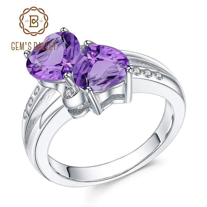GEM'S BALLET 2.39Ct Natural Amethyst Gemstone Rings 925 Sterling Silver Double Hearts Of Love Promise Ring For Women Jewelry