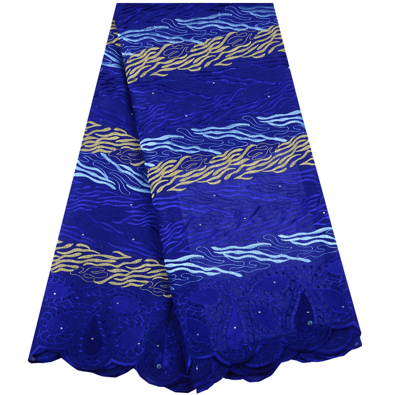 2019 Hot Sale Royal Blue Embroidered African Lace Fabric High Quality Cotton Lace French Net Lace