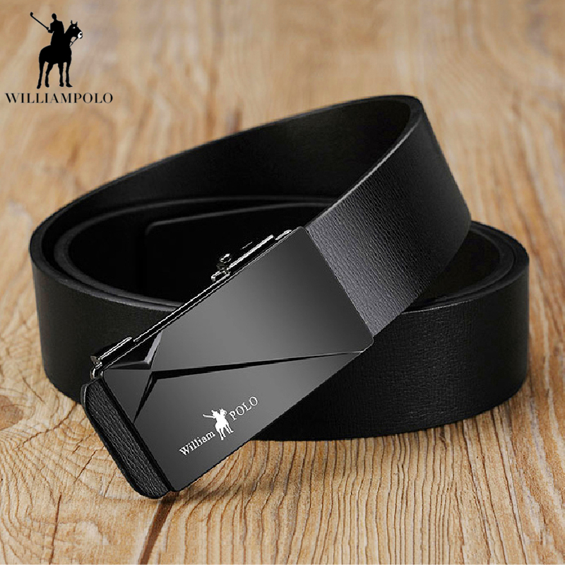 Williampolo COW genuine Leather   Belts   for Men High Quality Luxury Black Male Automatic Ratchet Buckle   belt   105-130cm PL18168P