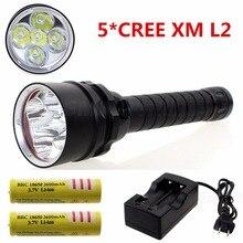 5x CREE XM L2 10000 lumen font b powerful b font led Diving flashlgiht Underwater 100m