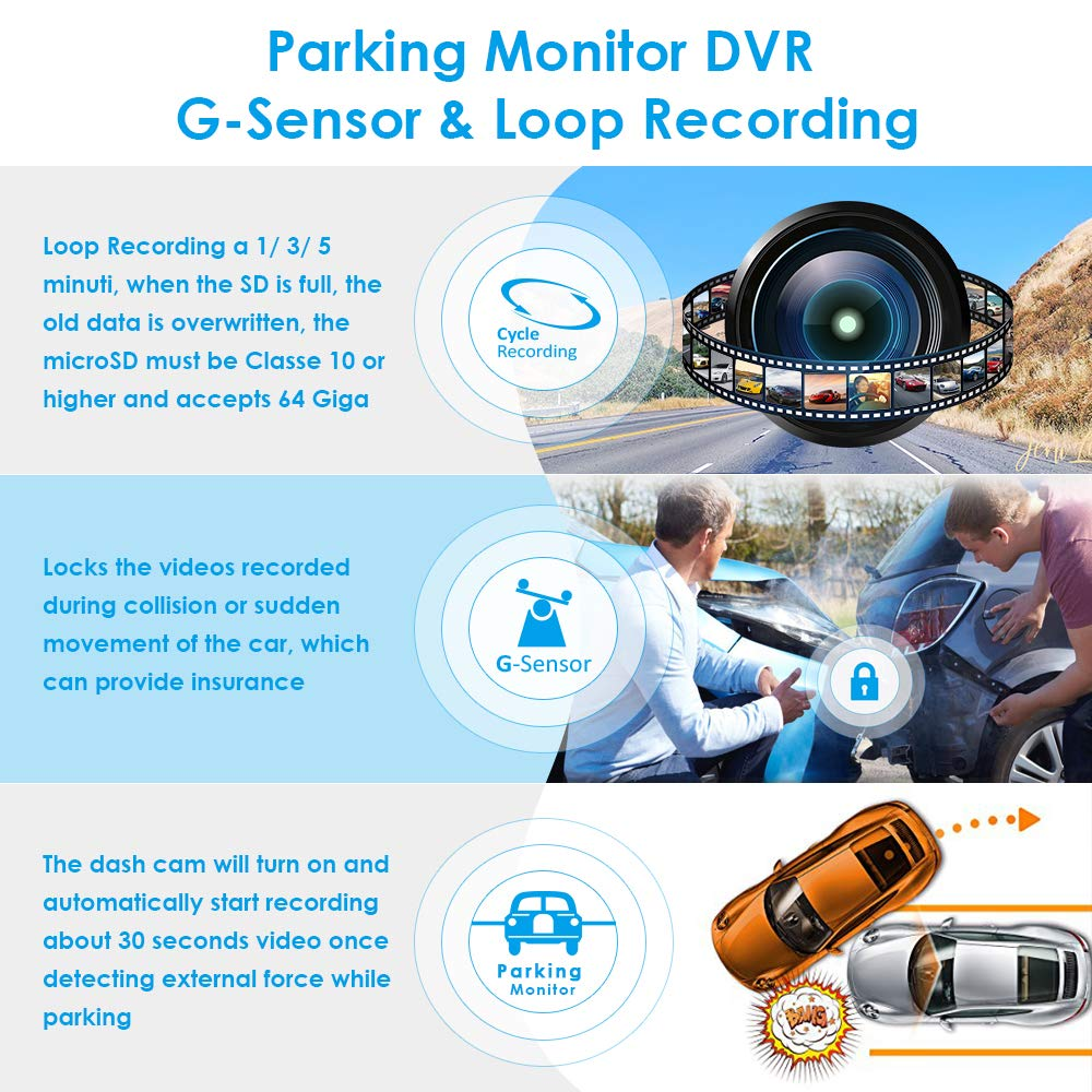 """Image 5 - AZDOME PG02 10"""" Streaming Media Mirror Dash Cam Full Screen Touching Dual Lens Night Vision 1080P Front 720P Backup Car DVR ADAS-in DVR/Dash Camera from Automobiles & Motorcycles"""
