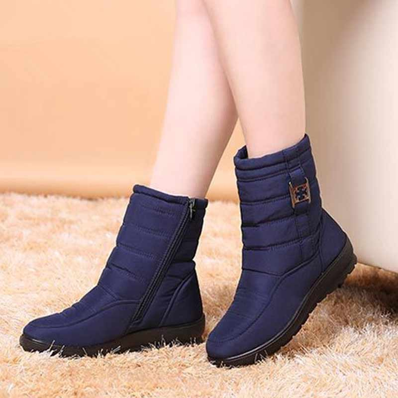 Plus Size Casual Cozy Snow Boots Women 2017 fashion Winter boots Keep Warm Round Toe Zipper