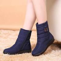 Plus Size Women Casual Cozy Snow Boots Women 2017 Winter Keep Warm Round Toe Zipper Boots