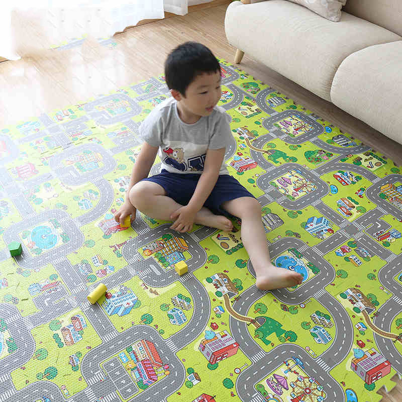 Baby Puzzle Mat Toddler Play Mat Children Toy Split City Road Carpets Developing Gym Game EVA Foam Developing Rugs No Edges ...