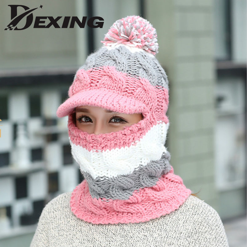 knit scarf Skullies Beanies winter hats for women wool knitted balaclava full face mask cap plus velvet outdoor sports warm hat winter hats skullies beanies hat for men women wool knit warm plush scarf caps balaclava mask gorras bonnet knitted snow ski hat
