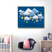 Starry Night Cartoon Kids Wall Picture Poster Print Star Cloudy Baby Room Canvas Painting Calligraphy Children Art Mural