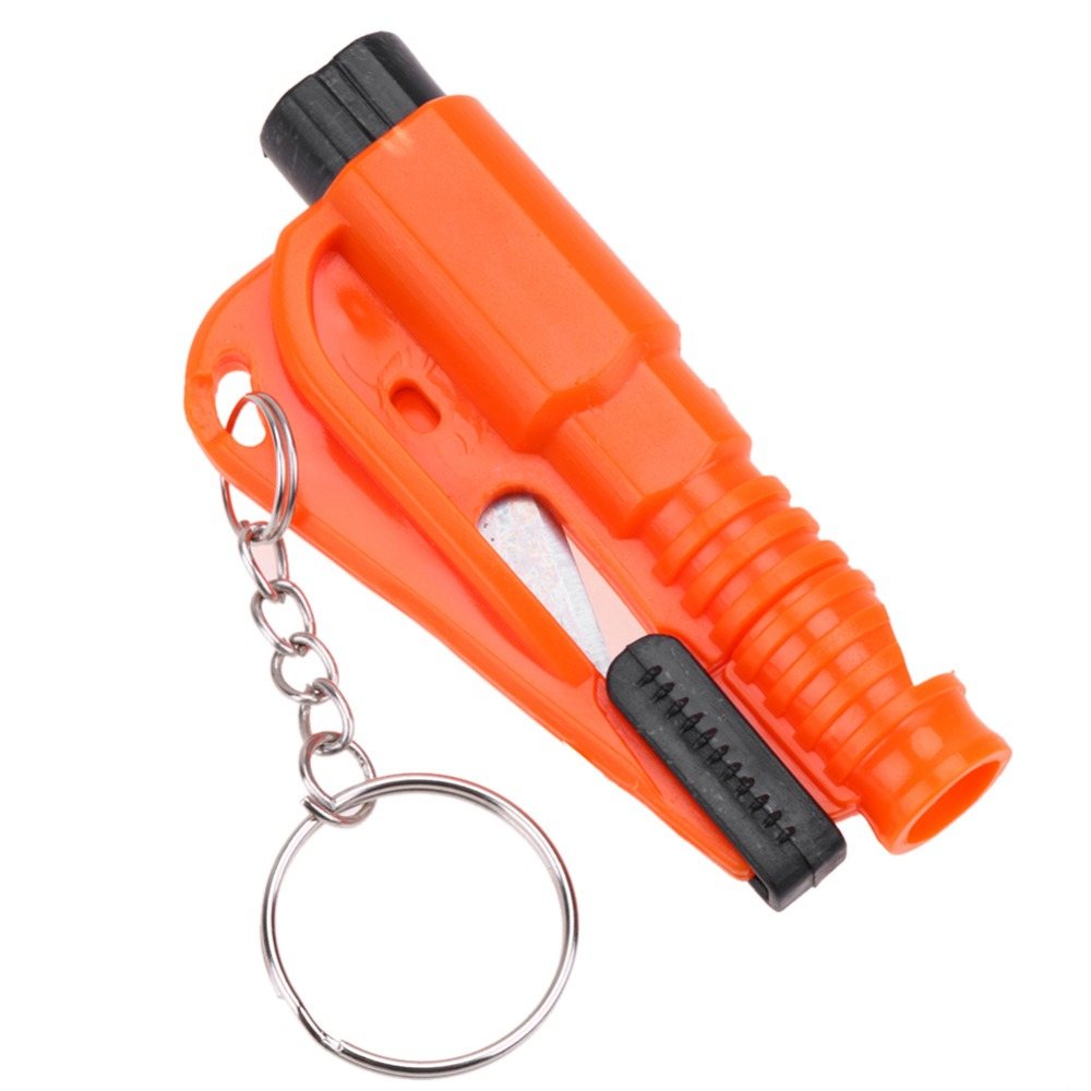 Car Keychain with Glass Window Breaking Hammer Emergency Escape Rescue Tool & Seat Belt Knife Cutter 5