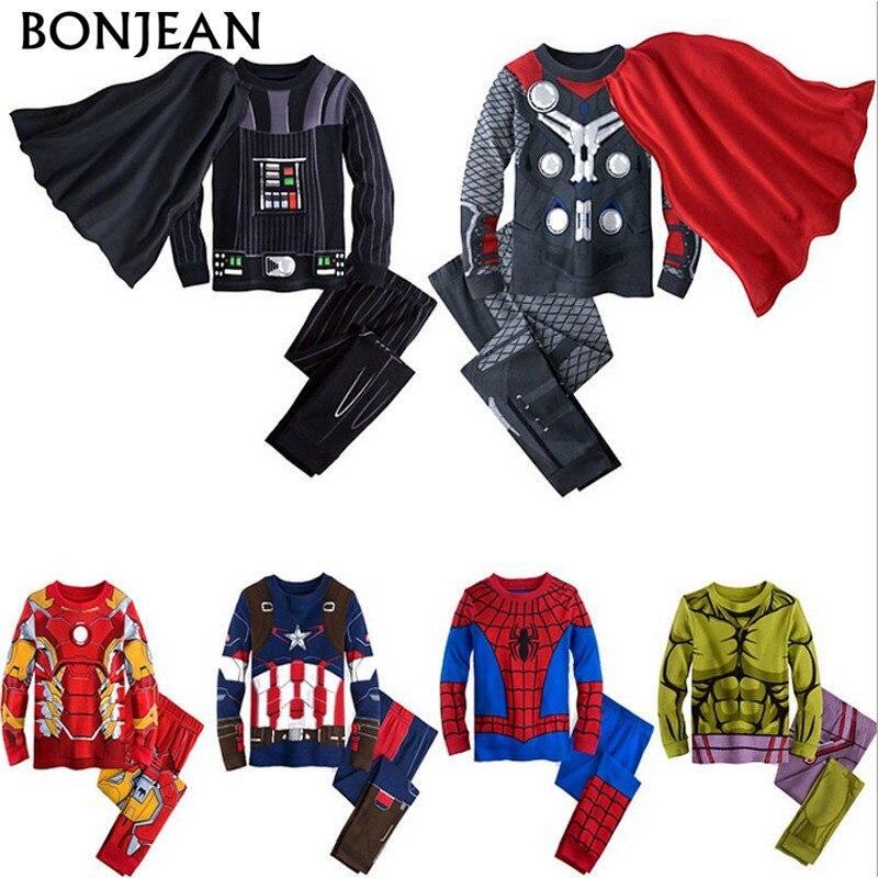 2017 Primavera crianças pijama roupas para meninos de super-heróis Batman Homem de Ferro Hulk Spiderman traje crianças dormindo desgaste conjuntos de roupas