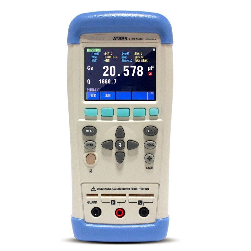 Nouveau haute qualité précision LCR mètre multimètre AT825 10 KHz L C R Q D Z Theta ESR testeur LCD écran tactile USB testeur de AC100-240V