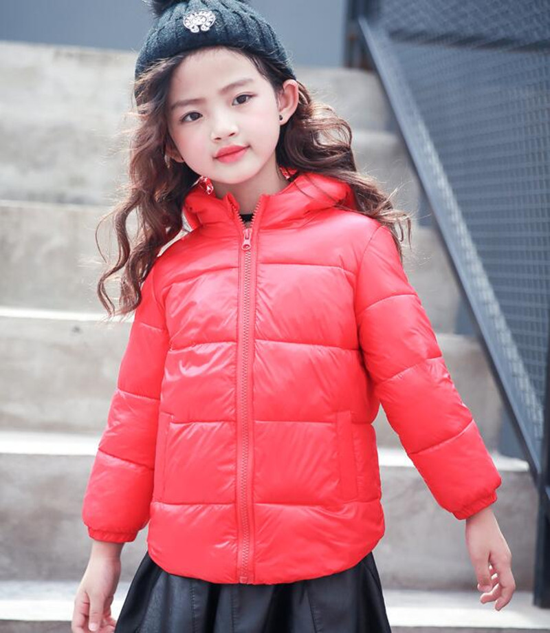 Children's Clothes Warm Boys Girls Thin Down Cotton Coat Baby Kids Winter Spring Autumn Hooded  Down Jacket Fashion Outerwear 2017 new fashion girls winter warm coat kids jacket hooded snow wear cotton down outerwear girl solid color winter clothes