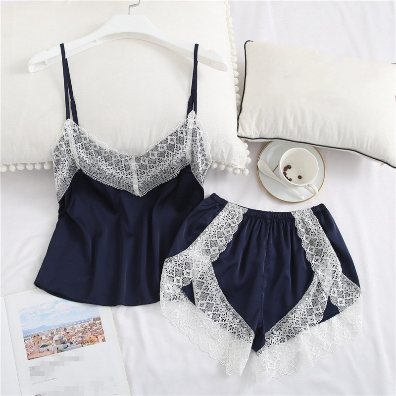 Hot Sale 2019 New Fashion Women Sleeveless Solid Two Piece Sleepwear Spaghetti Strap Summer Sexy Patchwork Lace   Pajama     Sets