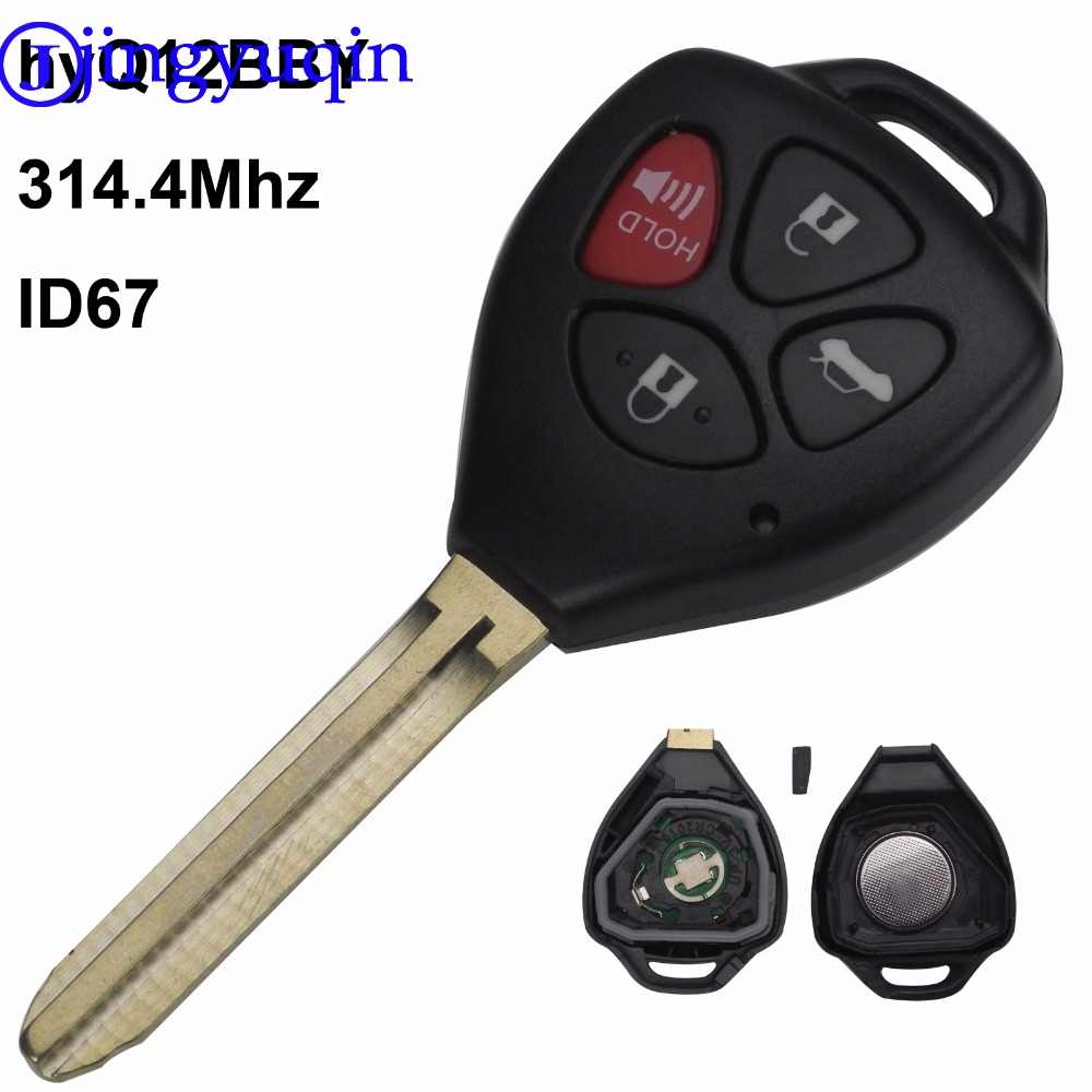 jingyuqin 4 Button Remote Key Fob ASK HyQ12BBY 314.4 Mhz with ID 67 Chip For Toyota Camry Avalon Corolla Matrix RAV4 Venza Yaris