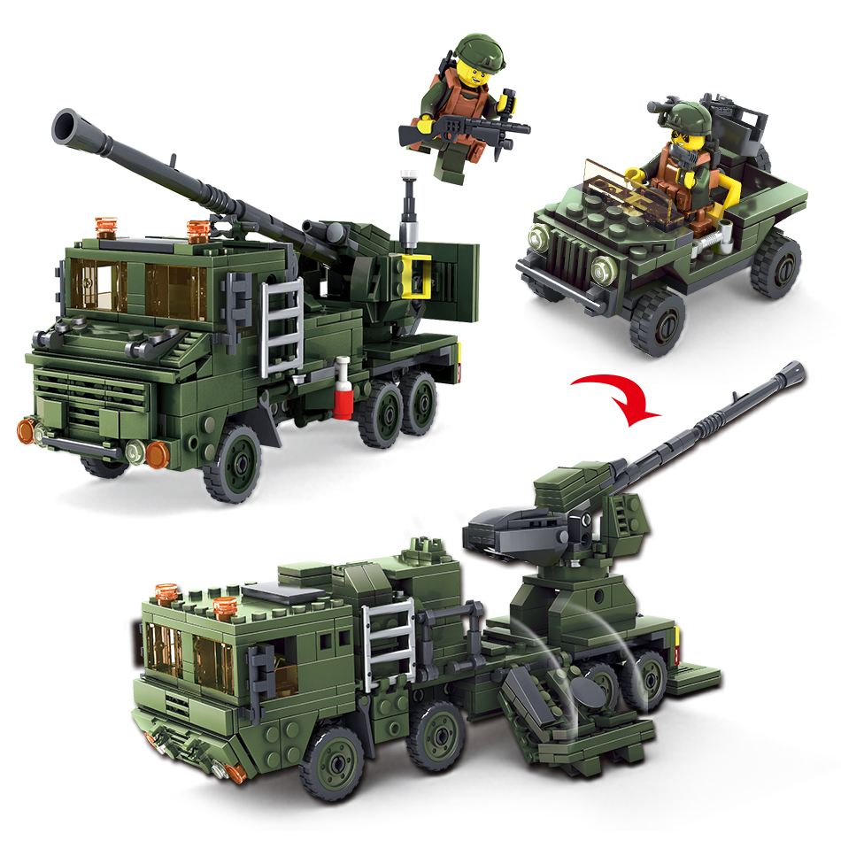 Kazi 534 pcs field armed forces series 4 kinds war chariot building blocks compatible legoed