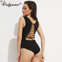 Colysmo Summer Women Sexy Back Lace Up Bodysuit Tie Up Autumn Romper Combed Cotton Playsuit Lace-Up Jumpsuit Bodies Black Pink