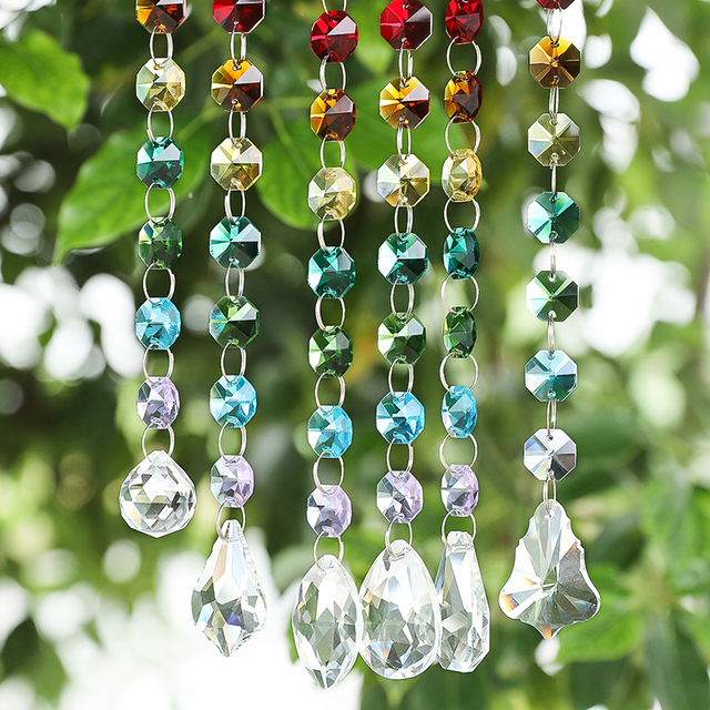 Crystal Glass Suncatcher Chakra with Multi Octagon Beads Window