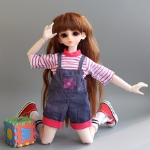 Subcluster  2 Pcs/Set T-Shirt with Suspenders Pant Fashion kids 1/6 BJD Doll Accessories Toys Girls Gift Doll Clothes e ting handmade clothes for barbie doll fashion t shirt hole jeans denim overalls street style girls suit accessories toys gift