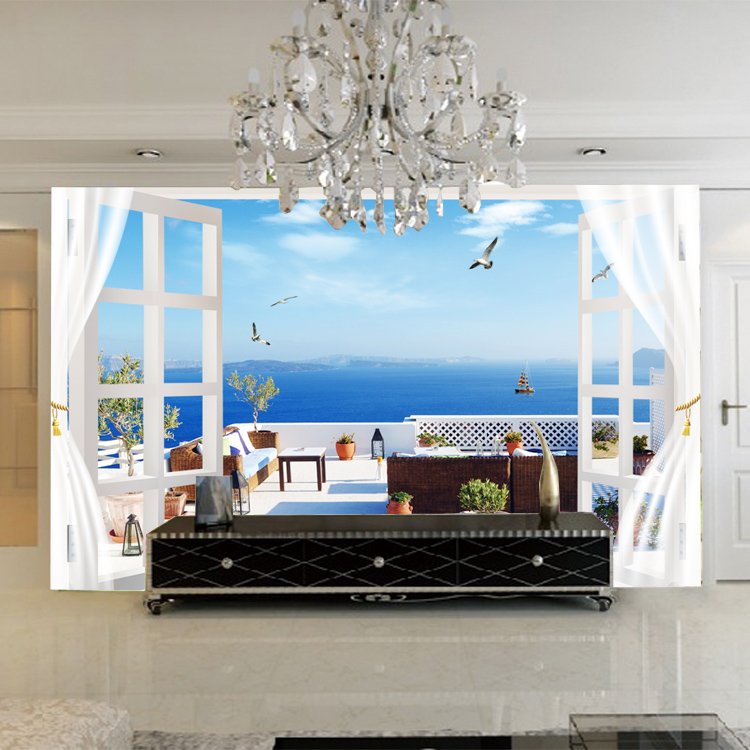 Romantic Beach Hotel Wall Paper Fototapete 3d Duvar Kaplama Mural ...