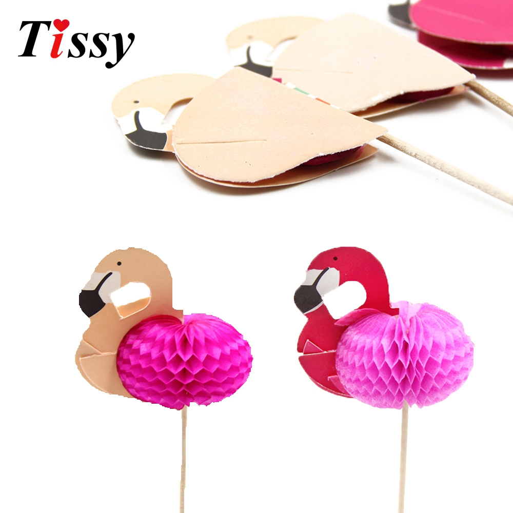 15CS DIY 3D Flamingo Cake Topper Picks Cocktail Party Favors Swimming Pool Beach Party Decor Birthday/Wedding Hen Party Supplies