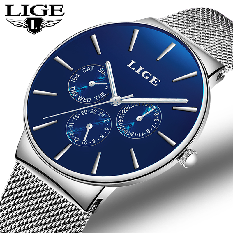 LIGE Fashion Simple Men Watch Top Brand Luxury Business Mesh belt Quartz Watches Mens Clock Male Sports watch relogio masculino цена