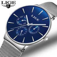 LIGE Fashion Simple Men Watch Top Brand Luxury Business Mesh belt Quartz Watches Mens Clock Male Sports watch relogio masculino