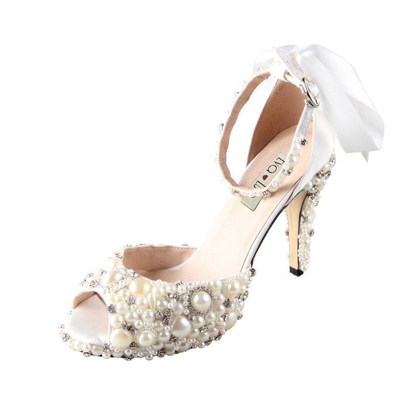 b860813aad8fd4 CHS498 Custom Handmade Bowtie Ankle Strap Ivory Pearl Bridal Wedding Shoes  Big Size High Heel Two Piece Ankle Strap Women Shoes -in Women s Pumps from  Shoes ...