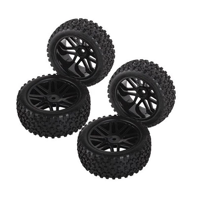 4x RC1:10 On Road Car Anti-Skid Rubber Tire /& 12MM Hex 10-Spokes Wheel Rim Black