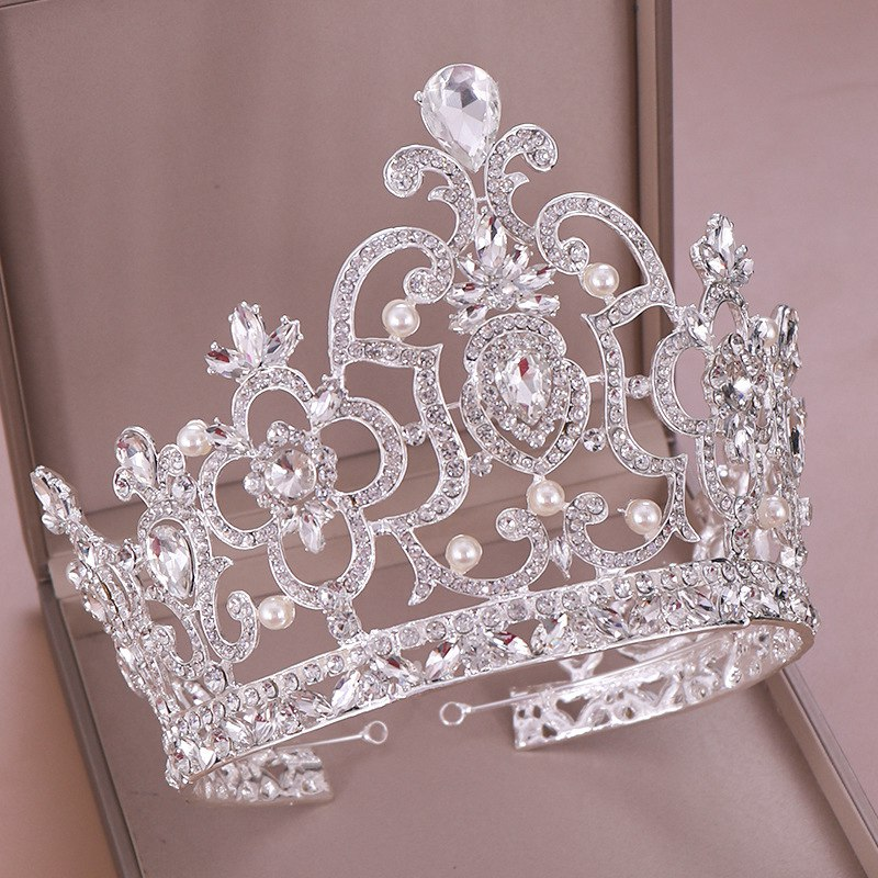 Crown Headwear Bride Jewelry of Champion of Crystal Crown Silver Plated Extravagant Sparkling Tiaras And Crowns Exquisite Gift